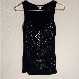 CACHE Gunmetal studded top